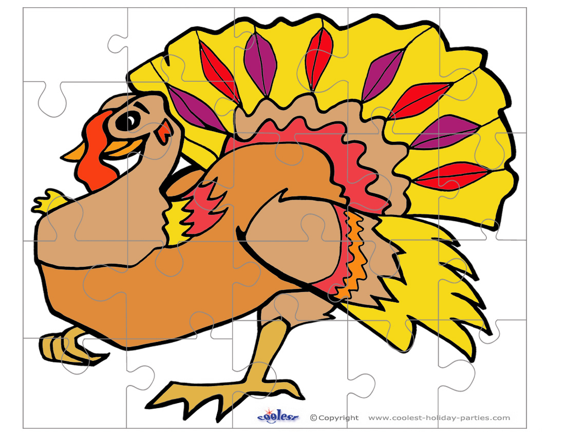 Printable Colored Turkey 1 Medium-Piece Puzzle - Printable Turkey Puzzle