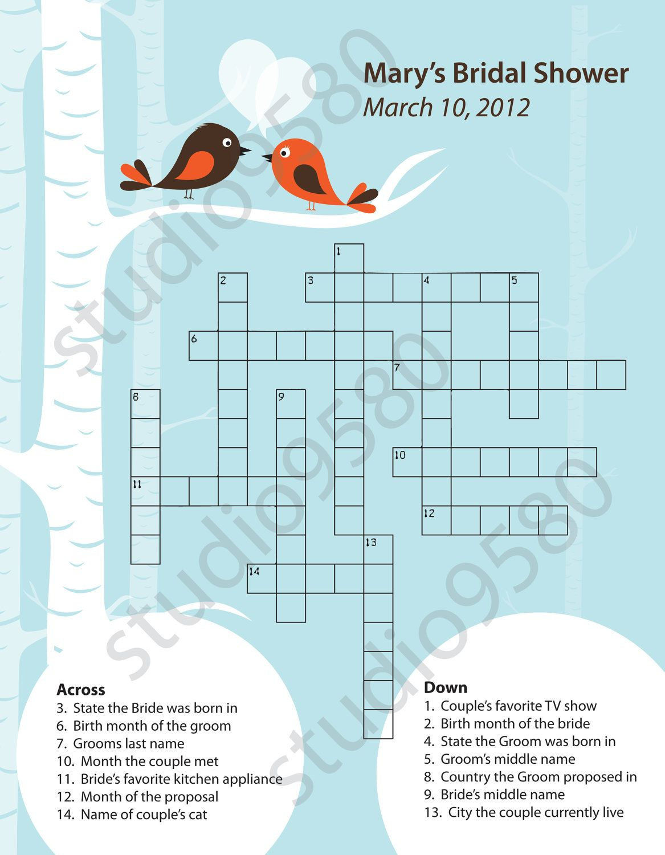 Printable Crossword Puzzle Bridal Shower Game | Bridal Shower - Free Printable Wedding Crossword Puzzle