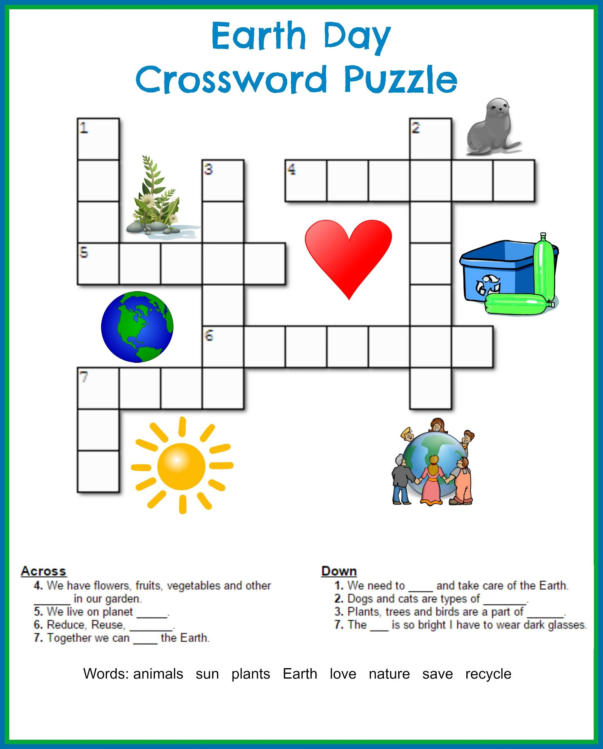 Printable Crossword Puzzles Kids | Crossword Puzzles On Earth - First Grade Crossword Puzzles Printable