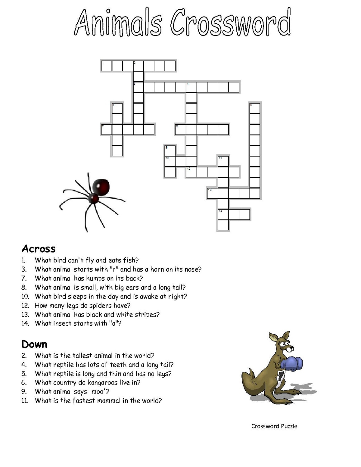 Printable Crosswords Puzzles Kids | Activity Shelter - Printable Crossword Animal