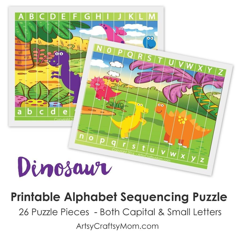 Printable Dinosaur Alphabet Sequencing Puzzle - Printable Dinosaur Puzzle