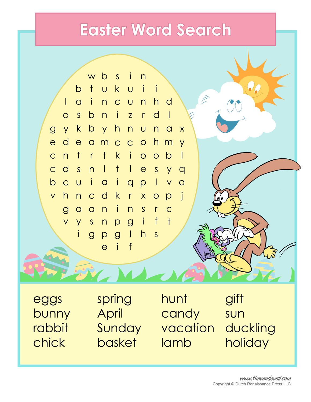 Printable Easter Word Search – Tim's Printables - Printable Bunny Puzzle