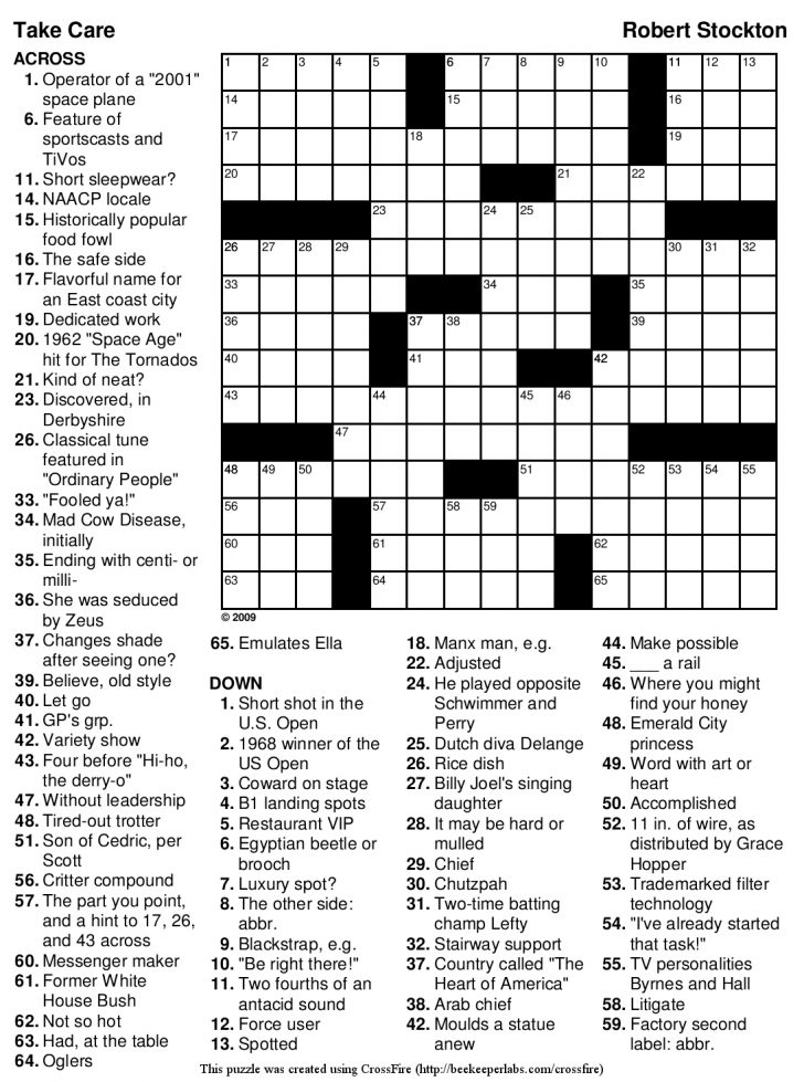 Printable Crossword Puzzles About Sports