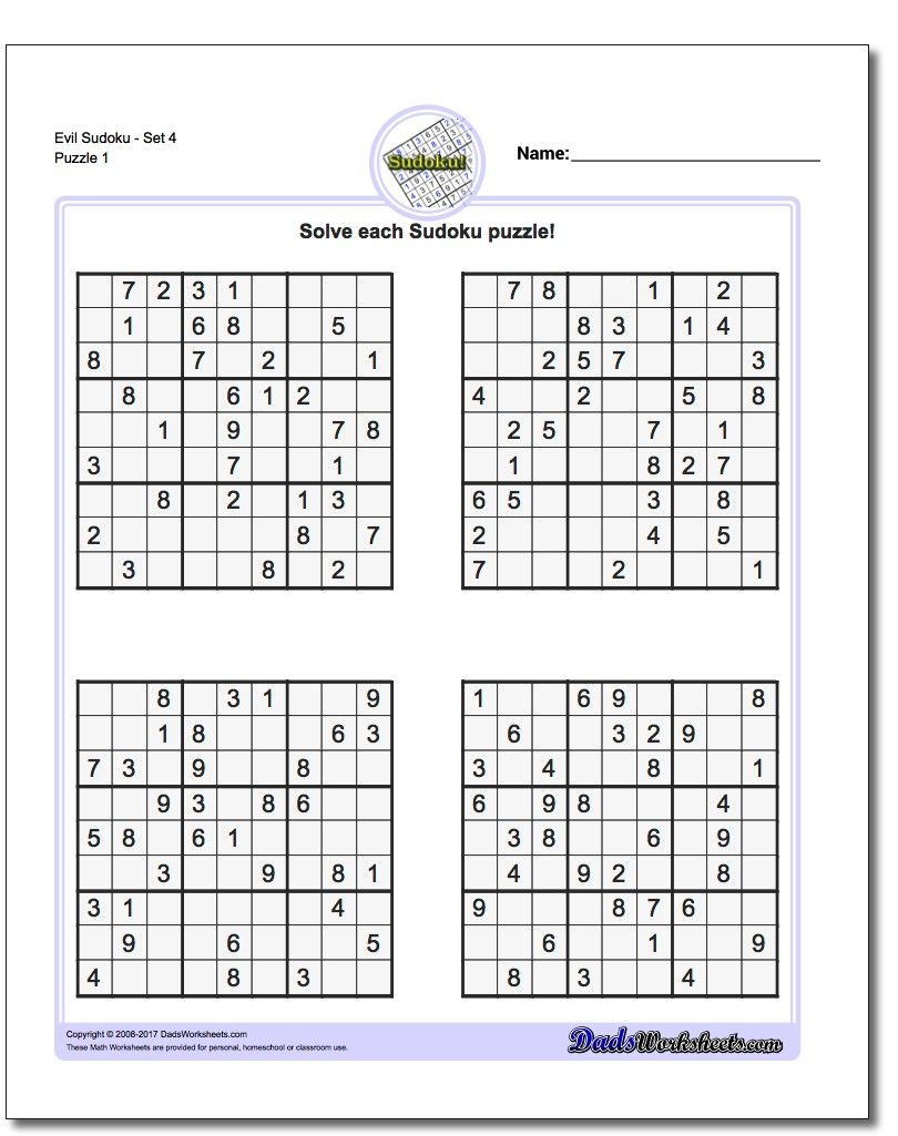Printable Evil Sudoku Puzzles | Math Worksheets | Sudoku Puzzles - Printable Sudoku Puzzles 3X3