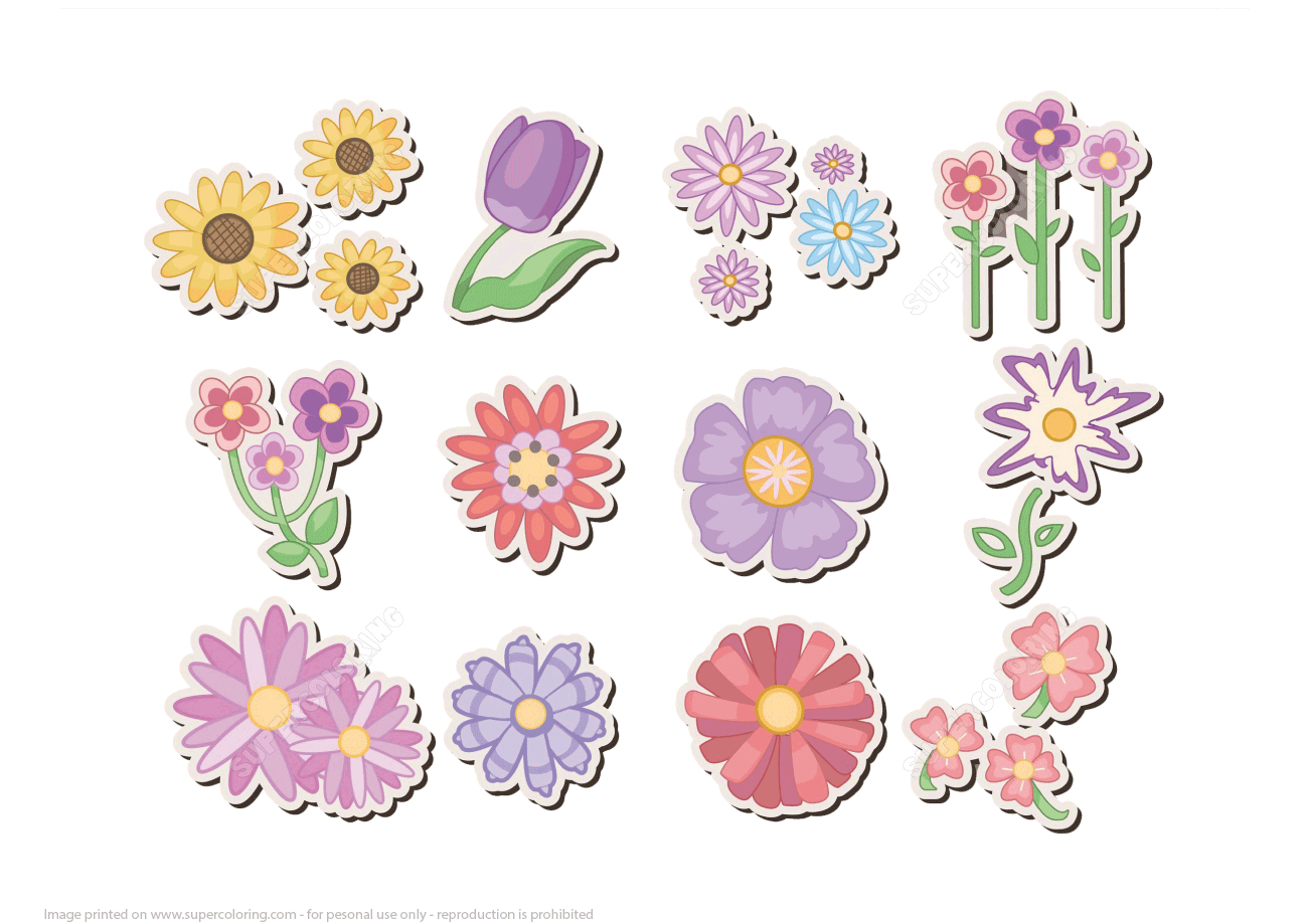 Printable Flower Stickers | Free Printable Papercraft Templates - Printable Flower Puzzle