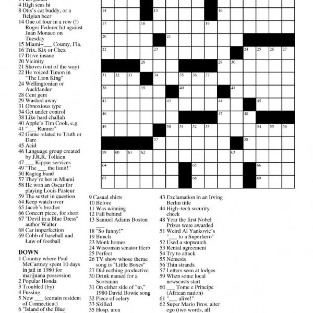 Printable Free Crosswords & Free Printable Crossword Puzzles Sc 1 - The Daily Printable Crossword Puzzles