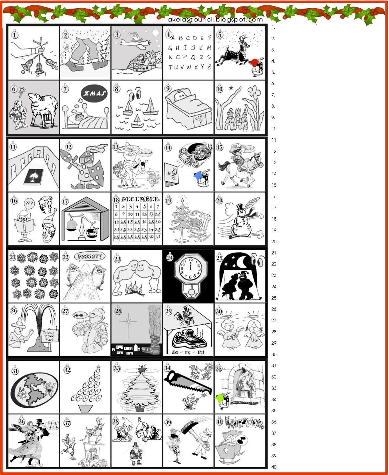 Printable * Guess The Christmas Songs Or Carols Word Puzzle - Printable Christmas Rebus Puzzles