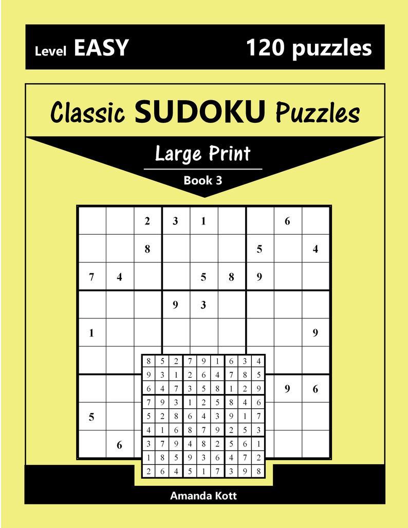 Printable Large Print Classic Sudoku Puzzles 120 Puzzles   Etsy - Printable Sudoku Puzzles Uk