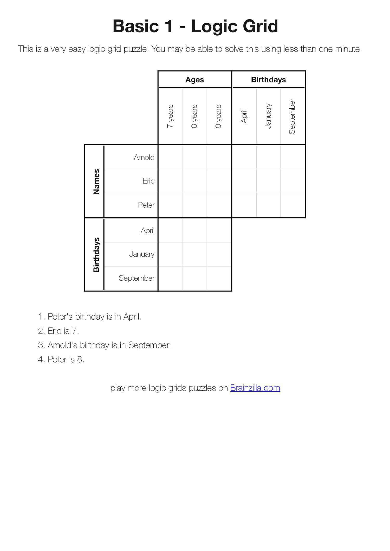 Printable Logic Grid Puzzles (Brainzilla).pdf | Docdroid - Printable Logic Puzzles Grid