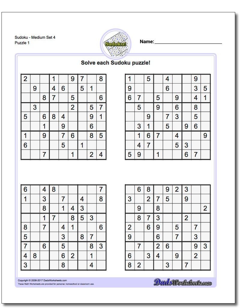 Printable Medium Sudoku Puzzles | Math Worksheets | Sudoku Puzzles - Printable Crossword Puzzles 1978