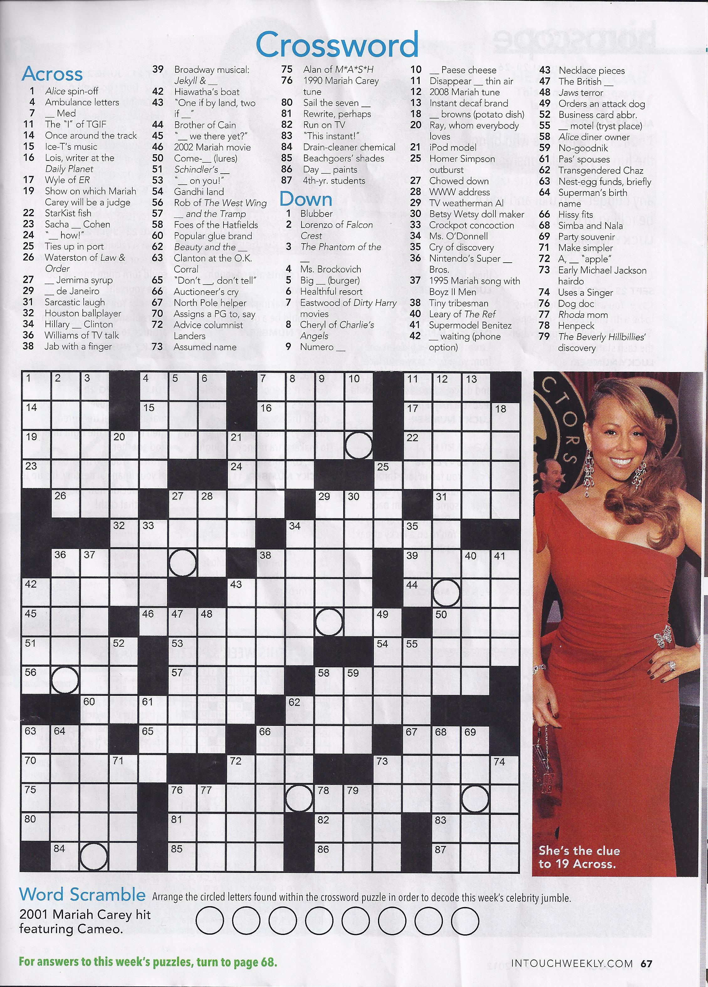 image relating to Star Magazine Crossword Puzzles Printable named Printable Crossword Puzzles Versus People today Journal Printable
