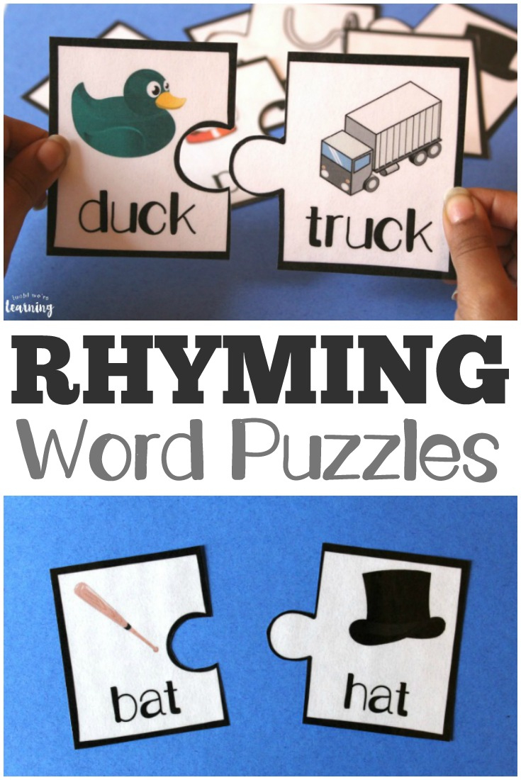Printable Rhyming Literacy Puzzles For Kids - Look! We're Learning! - Printable Rhyming Puzzles
