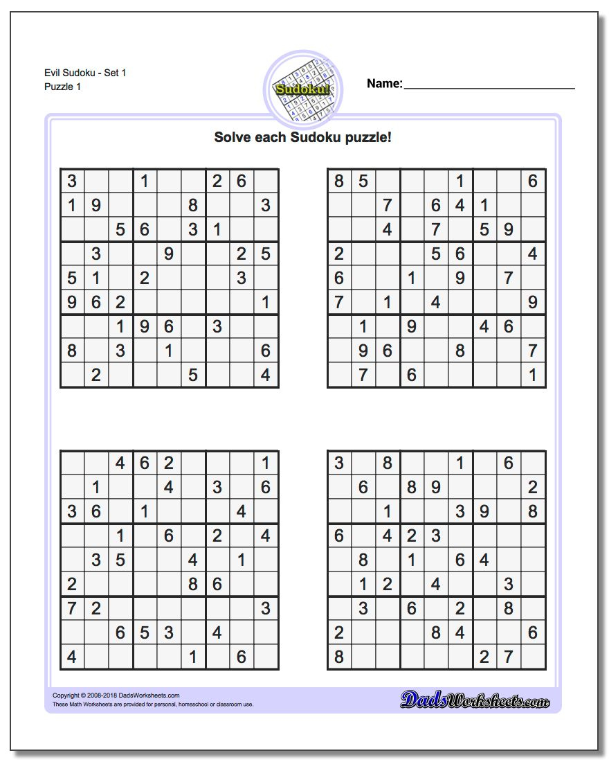 Printable Soduku | Room Surf - Printable Puzzles To Pass Time