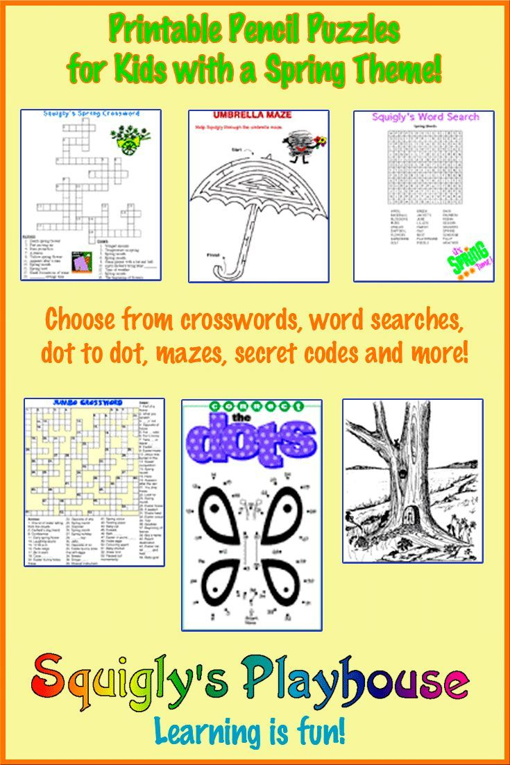 Printable Spring Puzzles For Kids | Crossword, Word Searches And - Printable Pencil Puzzles