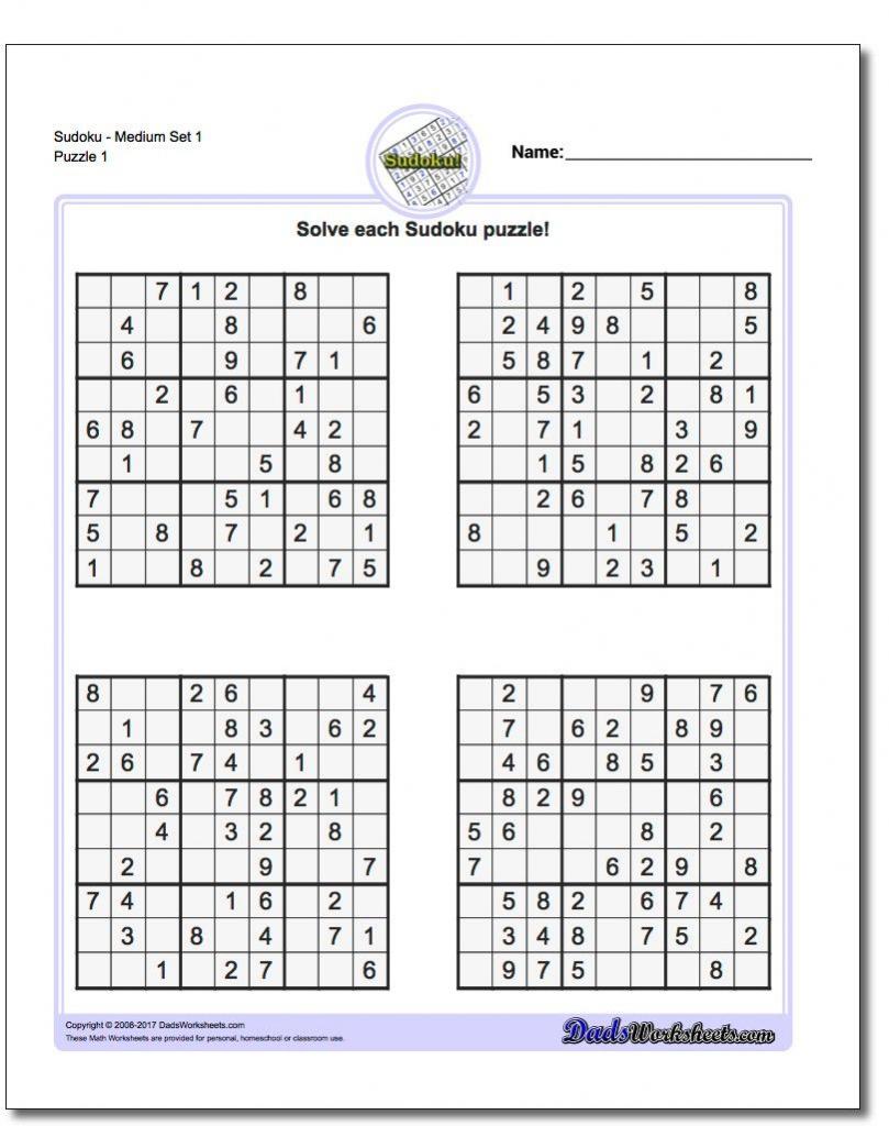 Printable Sudoku Free - Printable Sudoku Puzzles Pdf