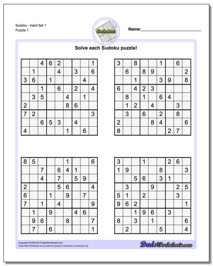 graphic about Printable Sudoku Puzzles 6 Per Page titled Printable Sudoku Puzzles Very simple #1 Printable Crossword Puzzles
