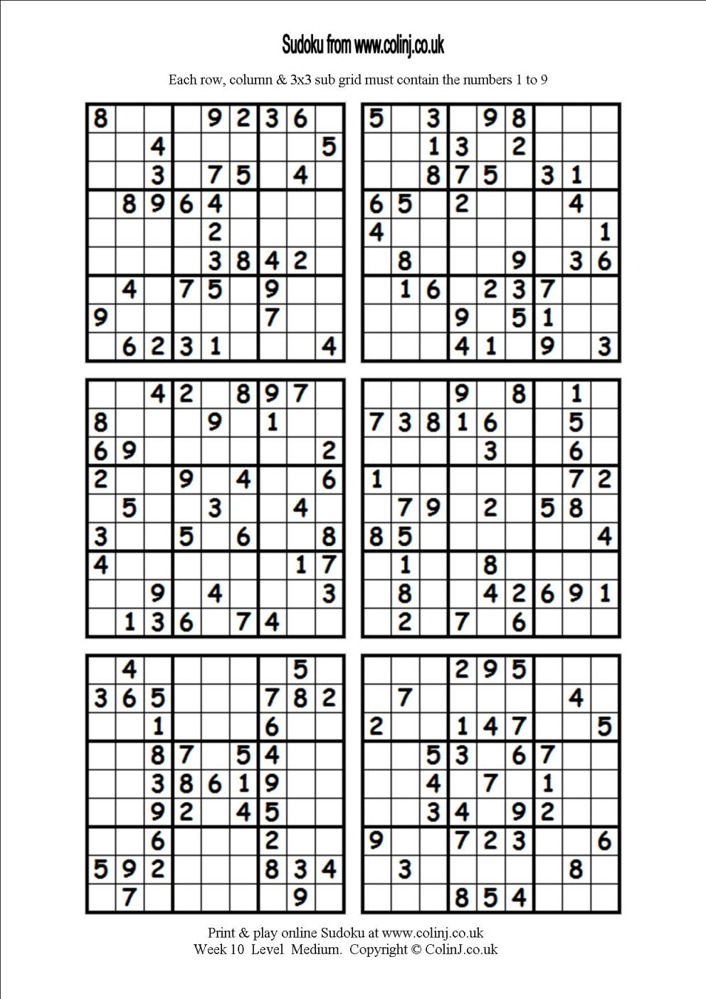 Printable Sudoku Puzzles 6 Per Page | Download Them Or Print - Free - Printable Sudoku Puzzles 6 Per Page