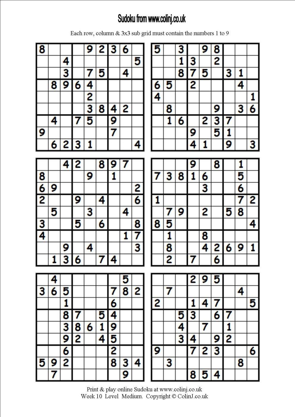 Printable Sudoku Puzzles 6 Per Page | Download Them Or Print - Free - Printable Sudoku Puzzles 8 Per Page