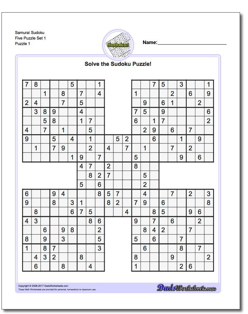 Printable Sudoku Samurai! Give These Puzzles A Try, And You'll Be - Printable Puzzles And Solutions
