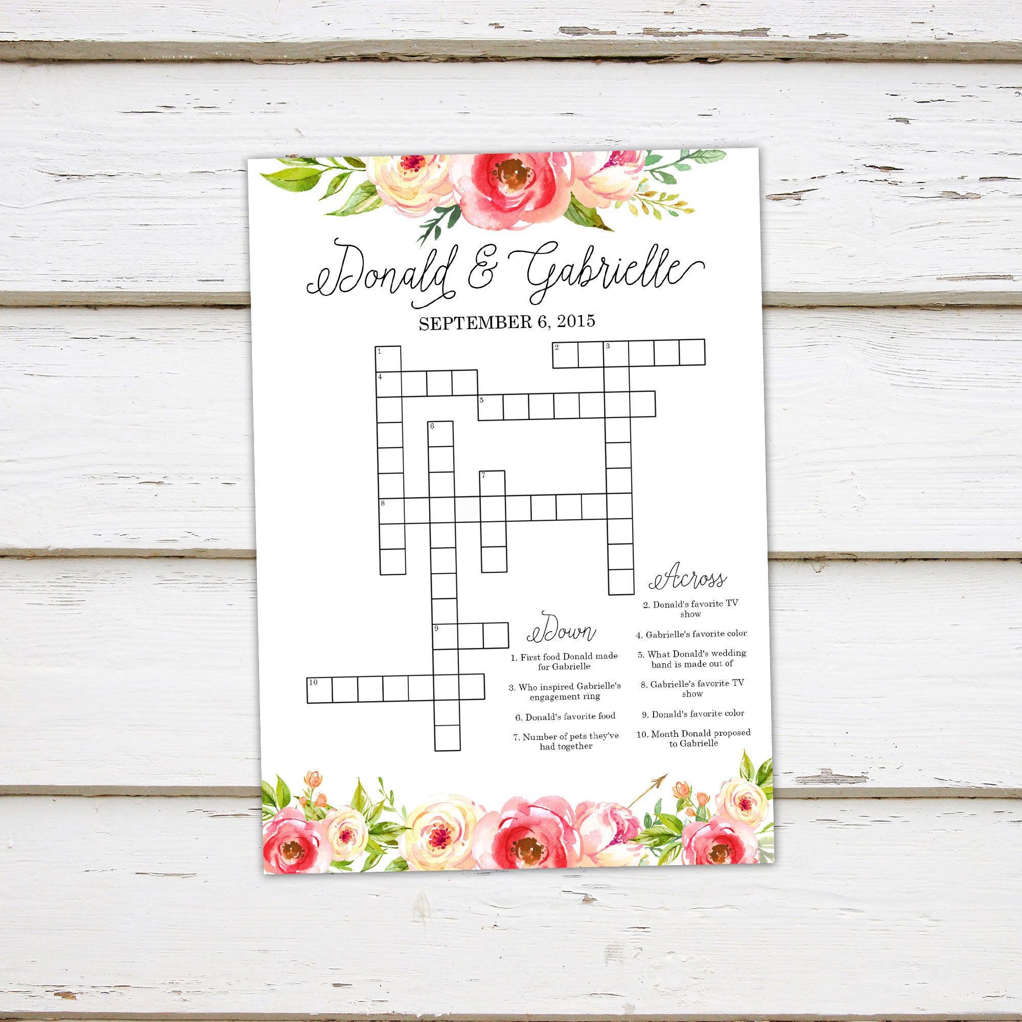 Printable Wedding Crossword Puzzle Game Games For Wedding | Etsy - Free Printable Wedding Crossword Puzzle