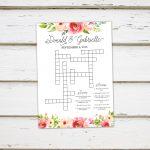 Printable Wedding Crossword Puzzle Game Games For Wedding | Etsy   Printable Wedding Puzzles