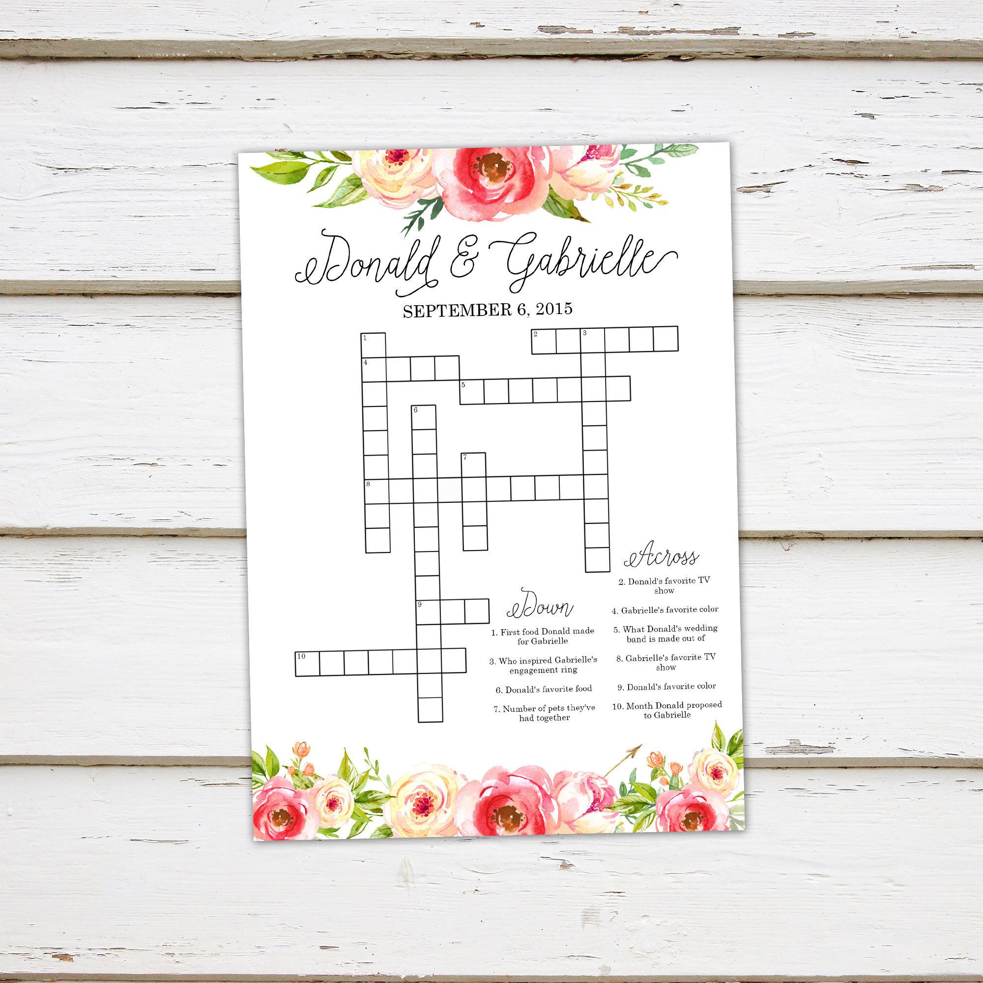 Printable Wedding Crossword Puzzle Game Games For Wedding | Etsy - Printable Wedding Puzzles