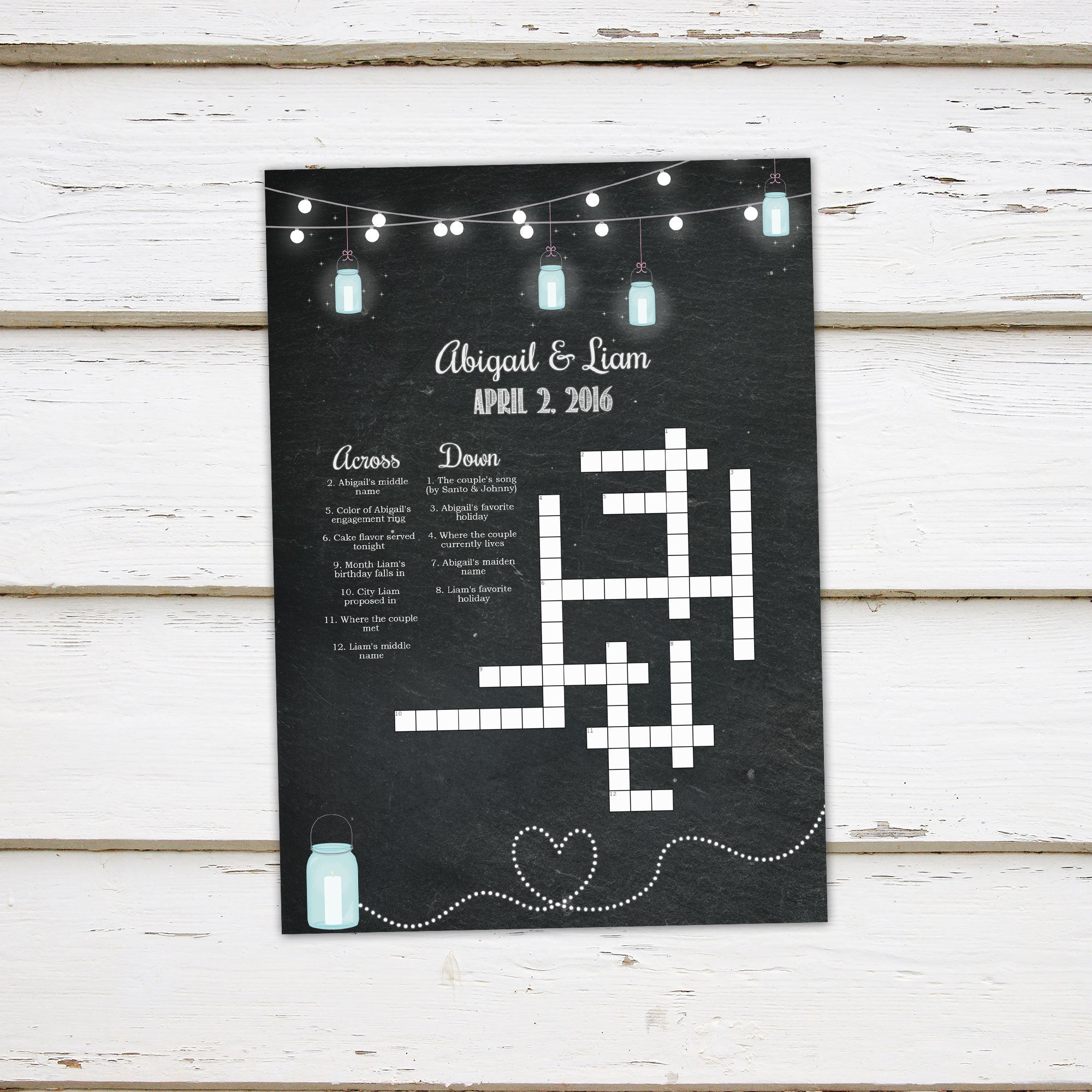 Printable Wedding Crossword Puzzle Game, Games For Wedding - Printable Crossword Puzzles South Africa