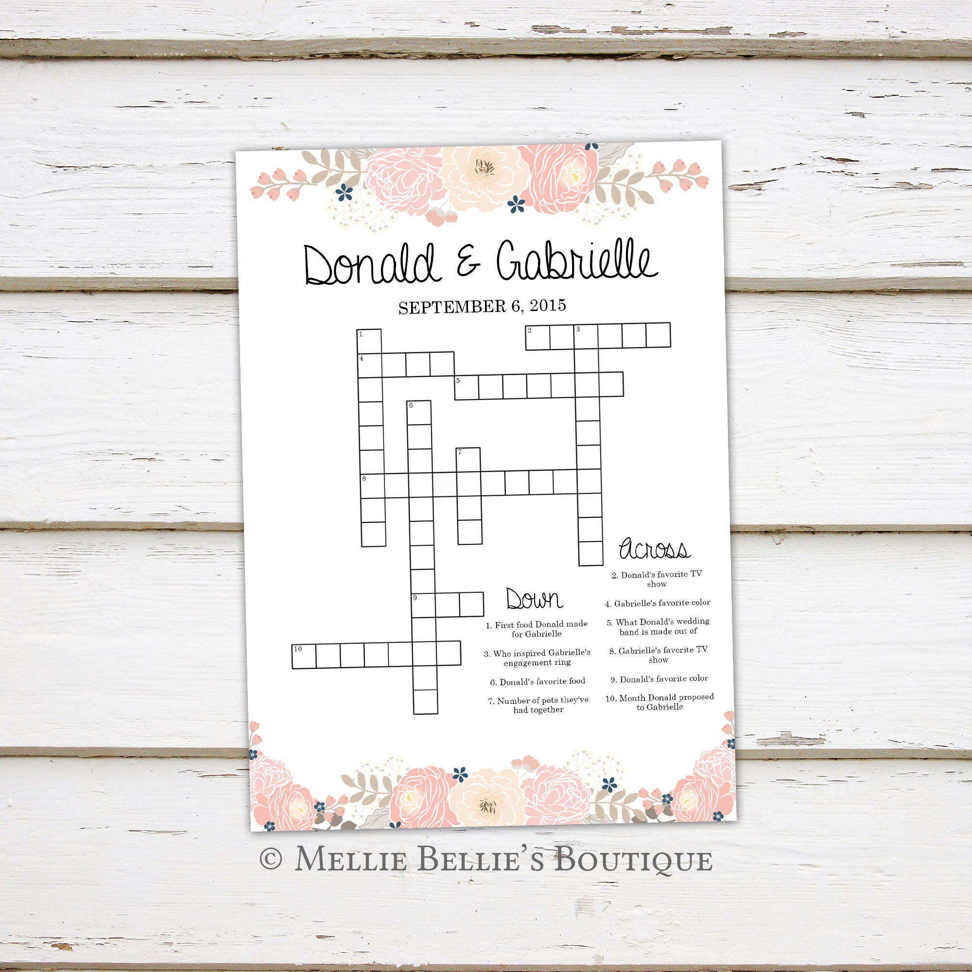 Printable Wedding Crossword Puzzle Game, Games For Wedding - Printable Wedding Crossword Puzzle