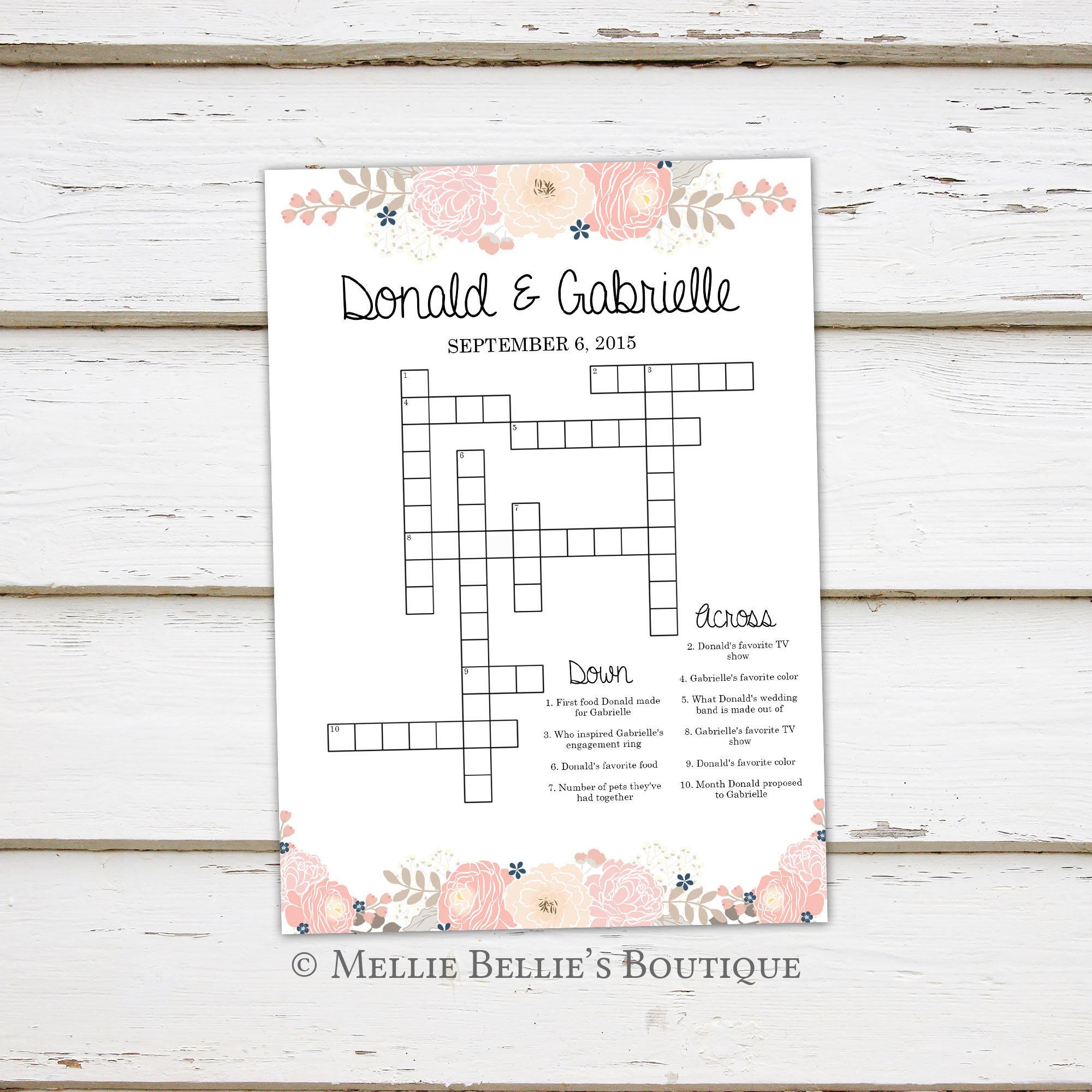 Printable Wedding Crossword Puzzle Game, Games For Wedding - Printable Wedding Puzzles