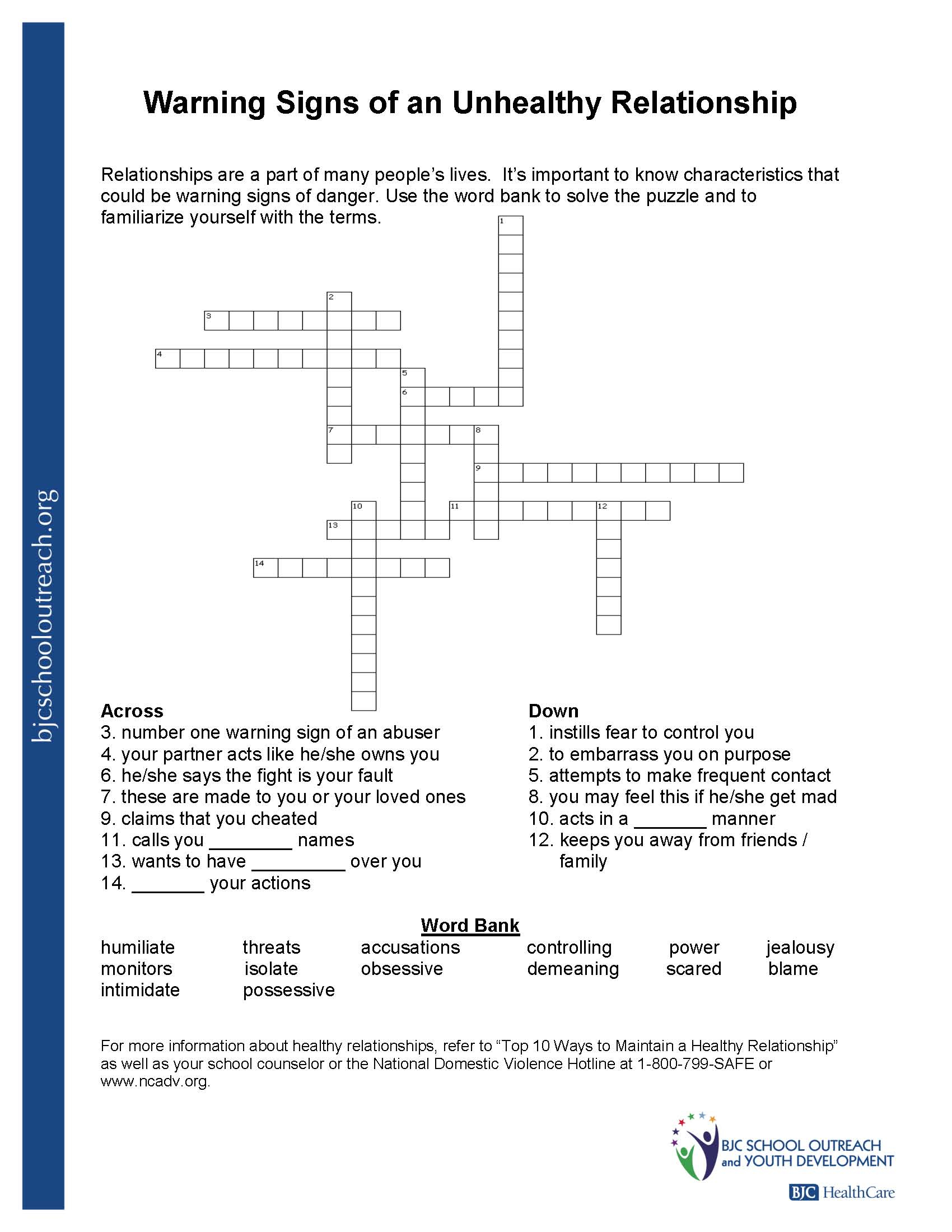 Printable Worksheets - Free Printable Recovery Crossword Puzzles
