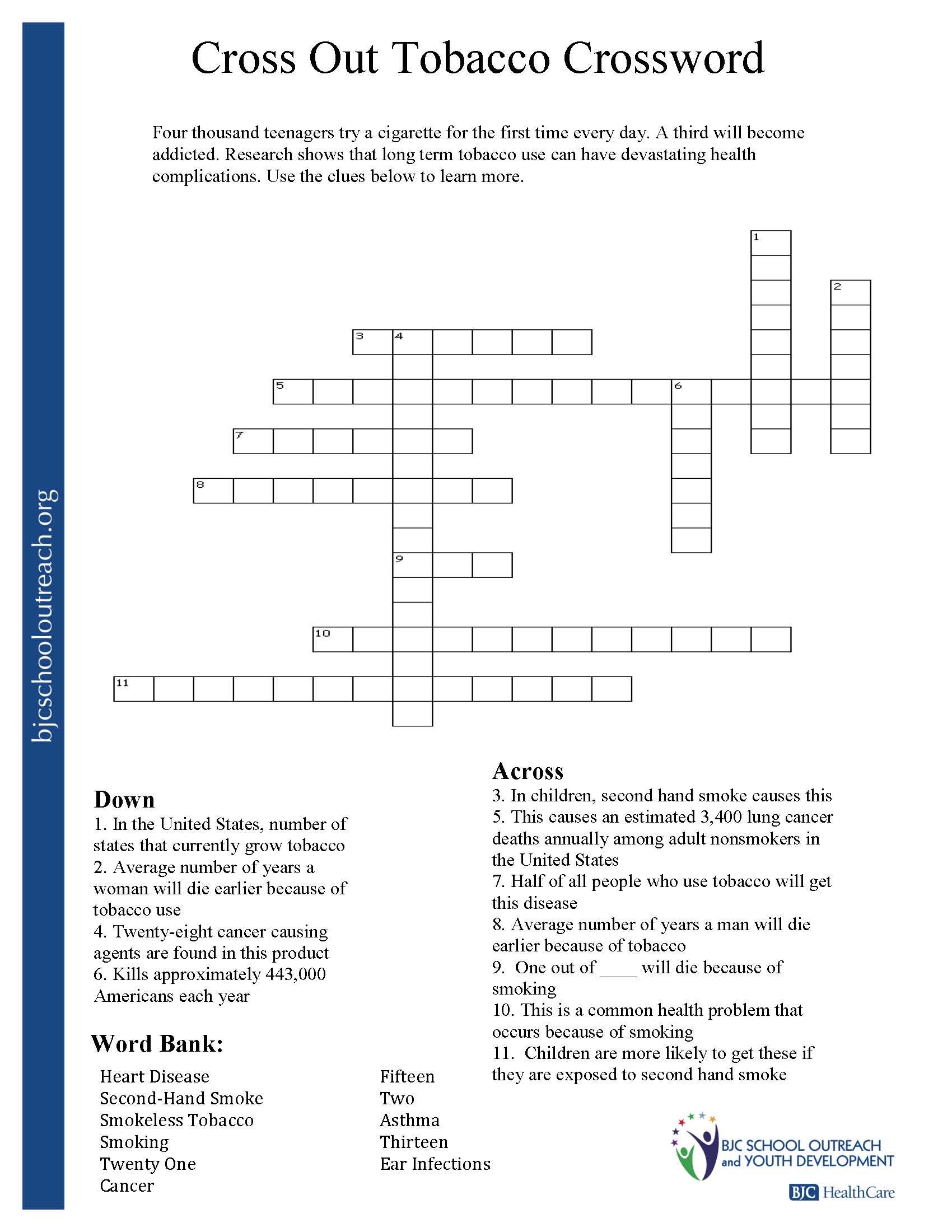 Printable Worksheets - Teenage Crossword Puzzles Printable Free