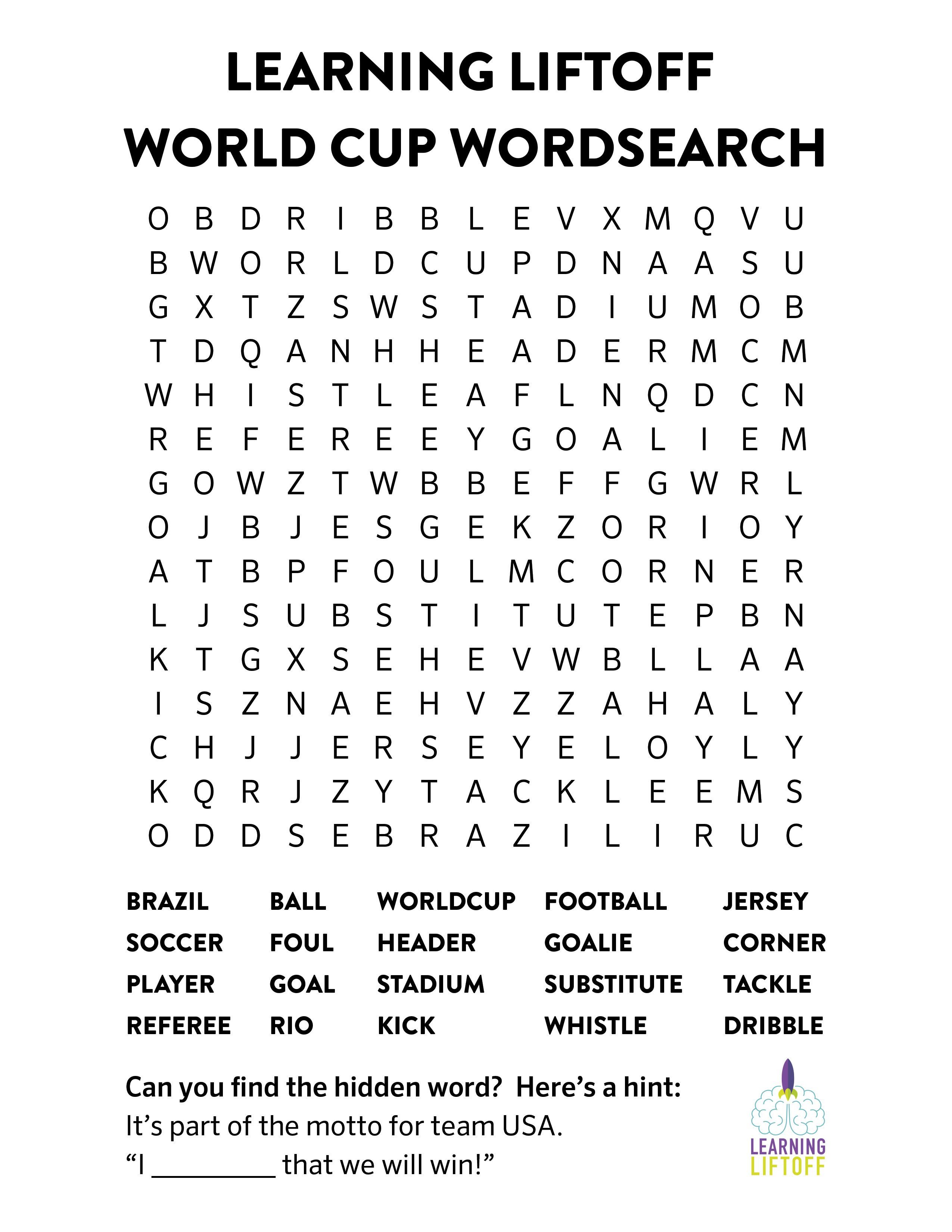 Printable World Cup Word Search | K12 | World Cup Games, World Cup - Printable Crossword Puzzles Soccer