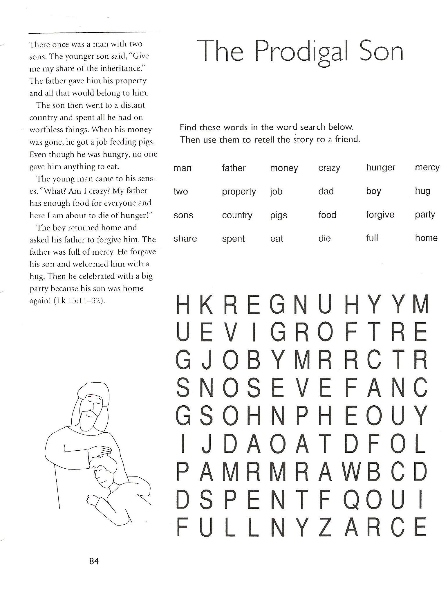 Prodigal Son Worksheets And Puzzles | 5Th Grade Catechist Resources - Printable Word Puzzles For 5Th Grade