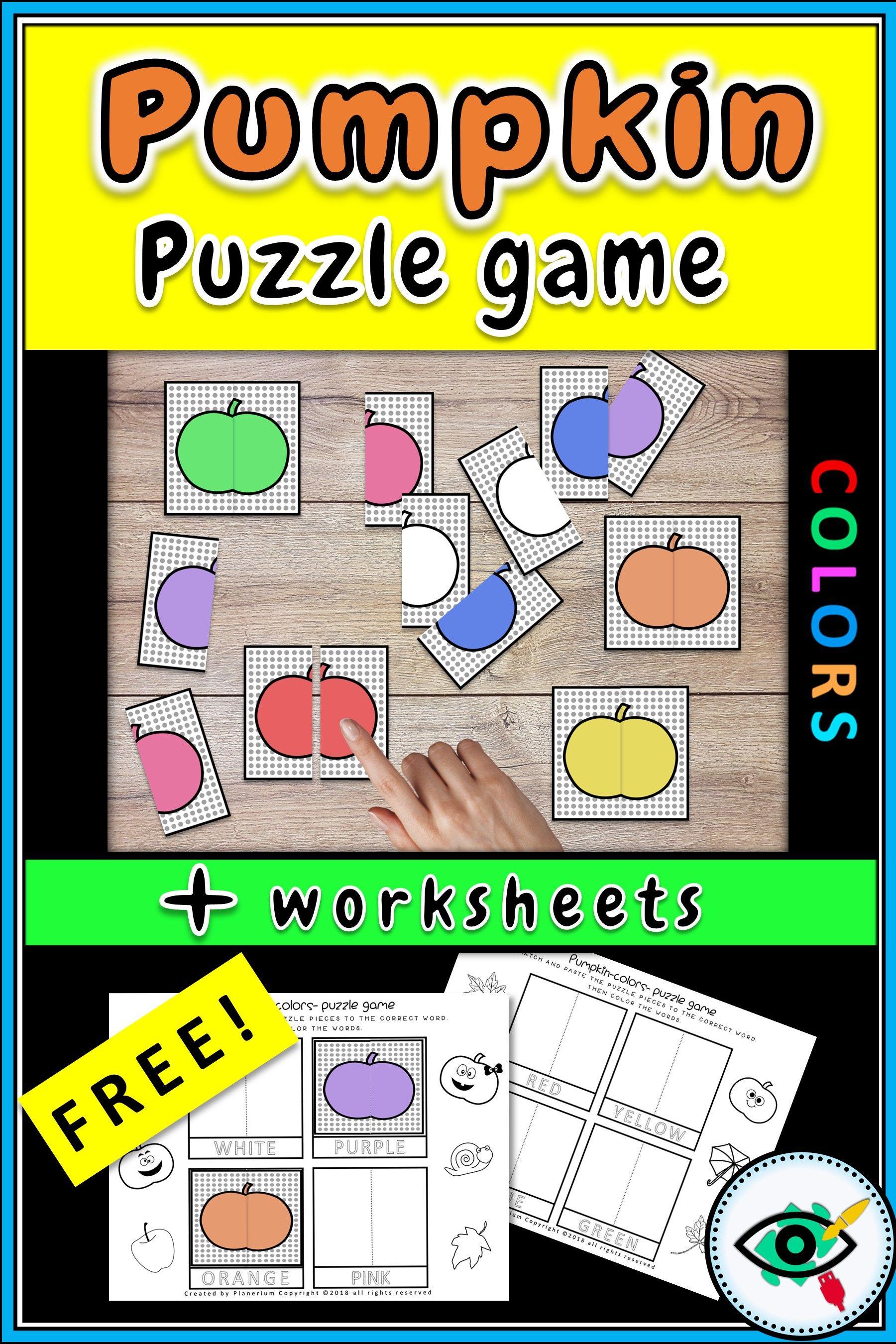 Pumpkin Colors Puzzle Game For K - Grade 1 | Best Of Planerium - K Print Puzzle