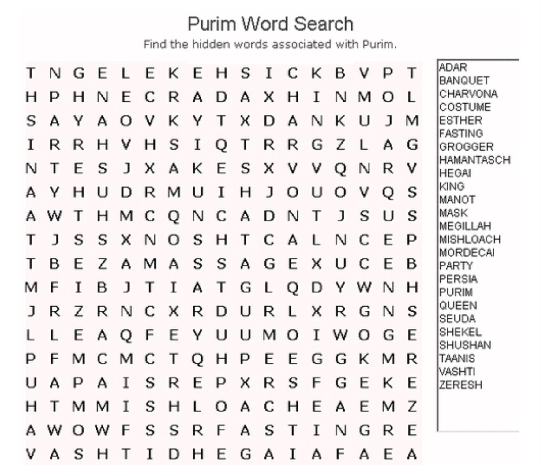 Purim Word Search | Kitah Dalet | Free Word Search Puzzles, Word - Printable Crossword Puzzles And Word Searches