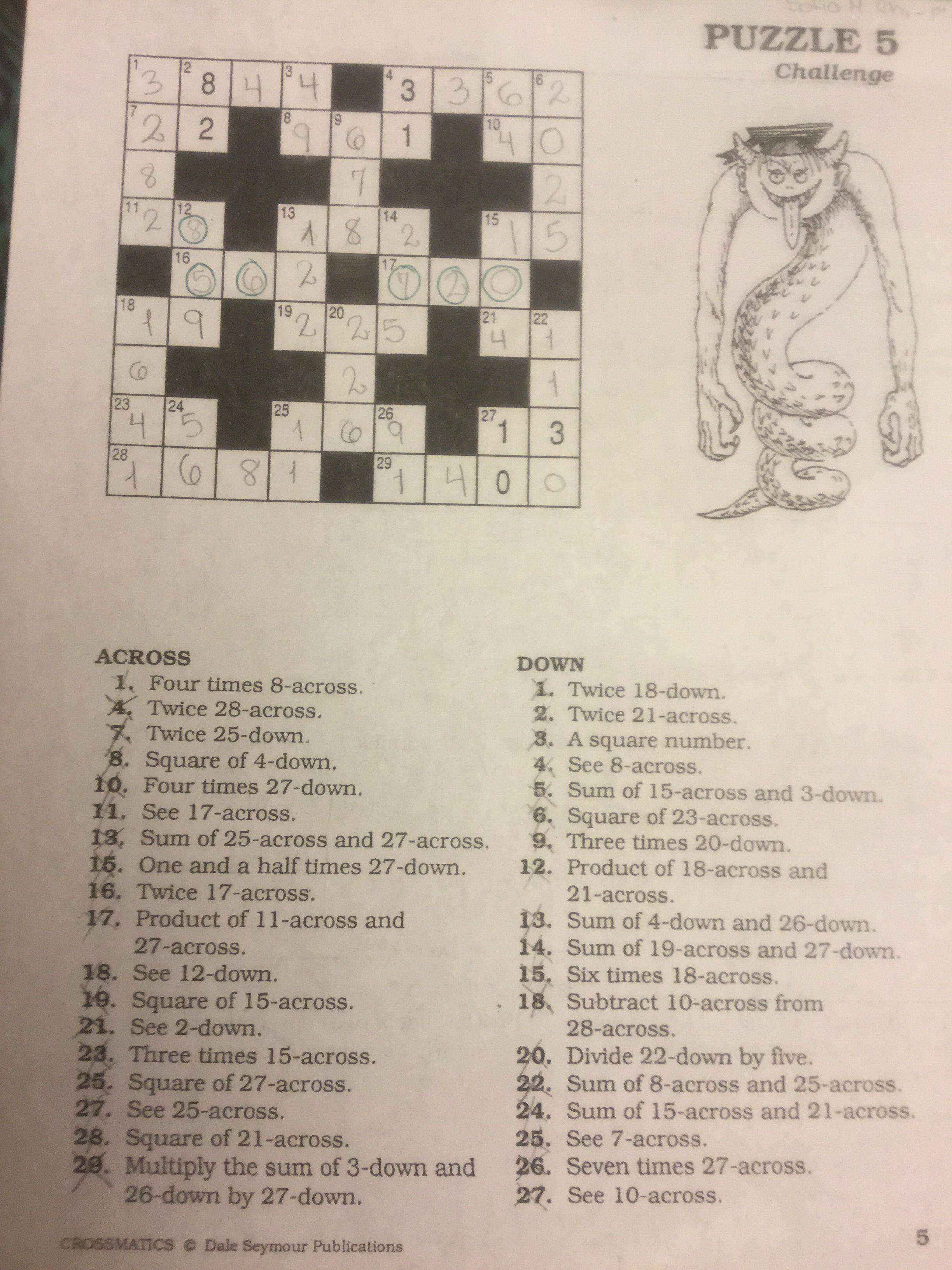Puzzle #5   Crossmatics ~ Dale Seymour Publications   Puzzle - Free Printable Crossword Puzzle #5