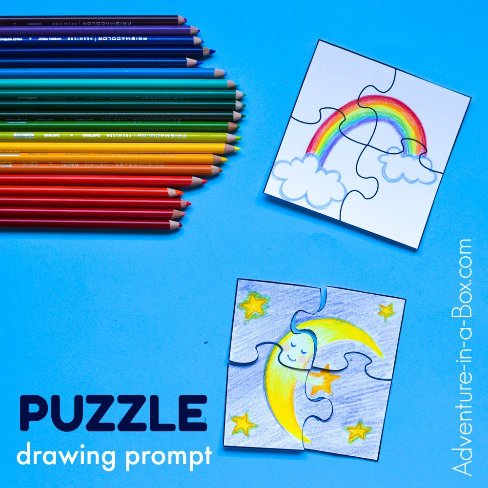 Puzzle Drawing Prompt For Kids With A Free Printable Template - Printable Drawing Puzzles