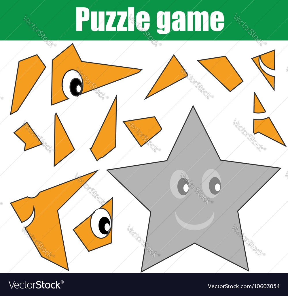 Puzzle Game With Star Shape Printable Kids Vector Image - Printable Star Puzzle