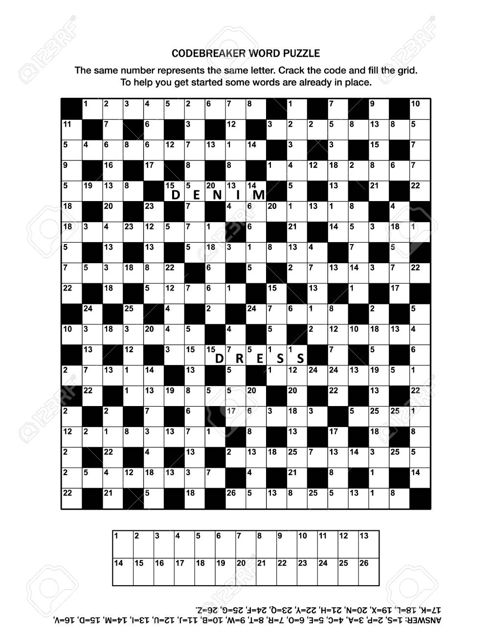 Puzzle Page With Codebreaker (Codeword, Code Cracker) Word Game - Printable Codebreaker Puzzles