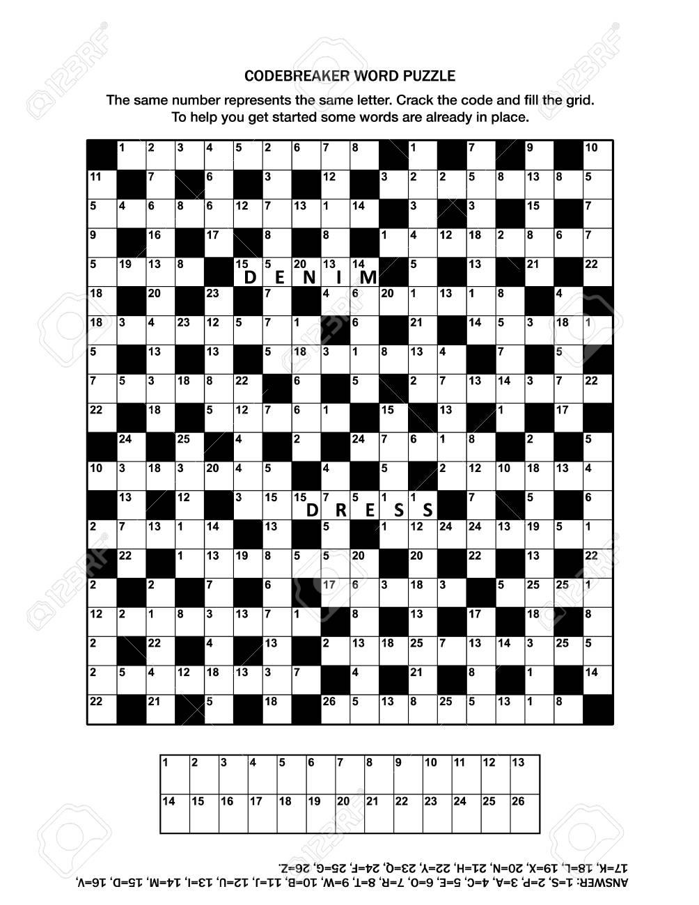 Puzzle Page With Codebreaker (Codeword, Code Cracker) Word Game - Printable Codeword Puzzles