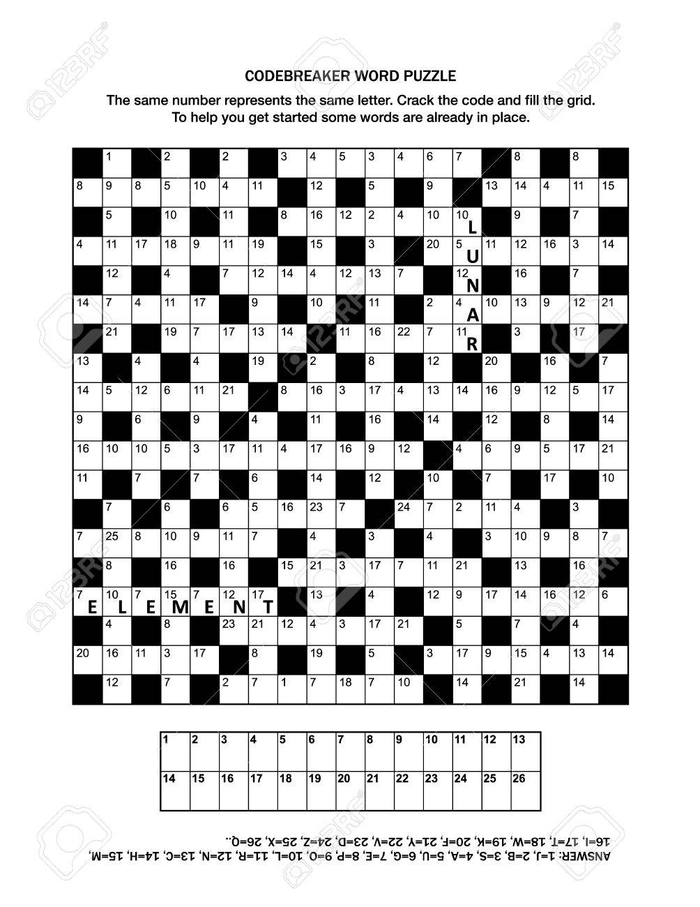 Puzzle Page With Codebreaker Or Codeword, Or Code Cracker Word - Printable Codebreaker Puzzles