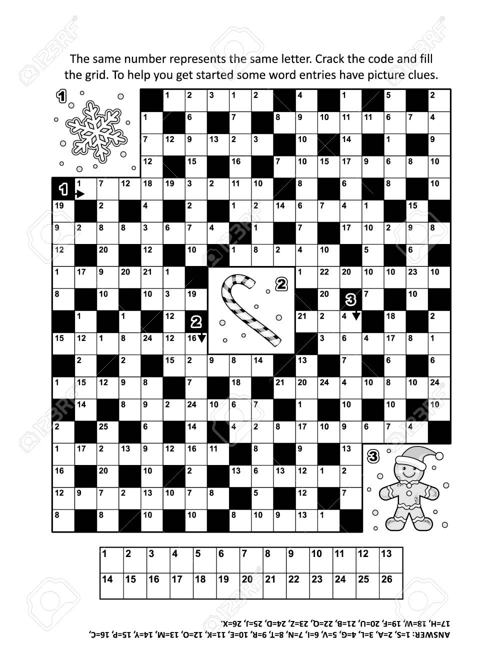 Puzzle Page With Winter Holiday Themed Codebreaker (Or Codeword - Printable Codeword Puzzle