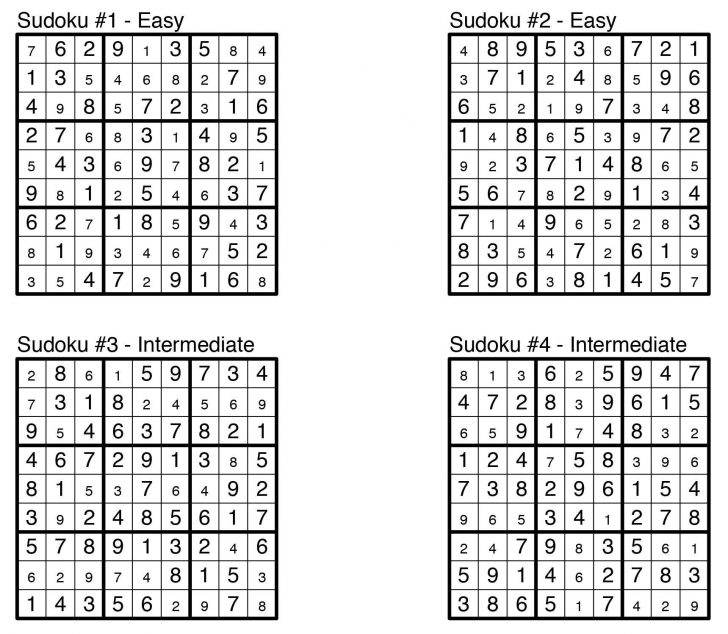 Printable Puzzles And Solutions
