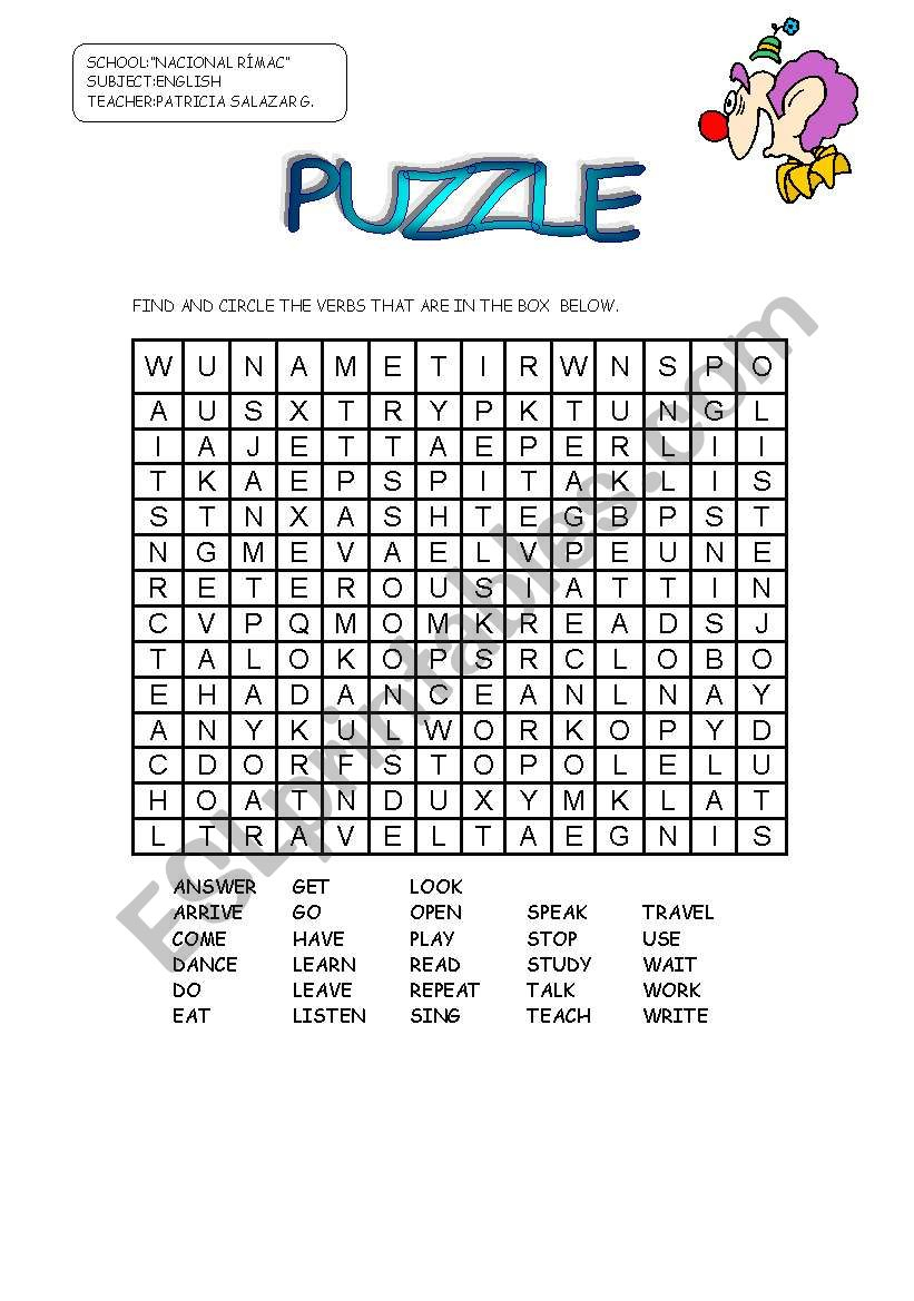 Puzzle Verbs - Esl Worksheetpatricia Elvira - Worksheet Verb Puzzle