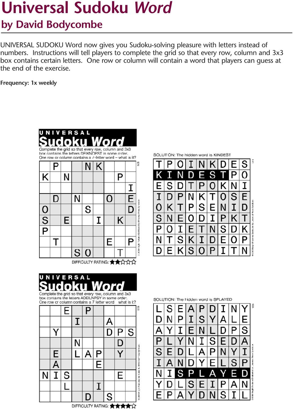 Puzzles And Games From Universal Uclick - Pdf - Printable Crossword Puzzles Uclick