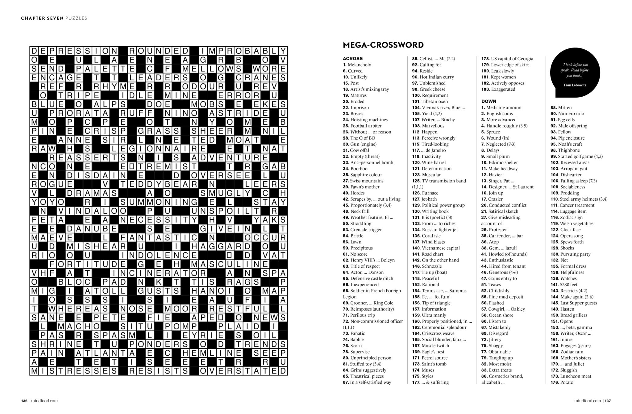 Puzzles   Mindfood - Free Printable Crossword Puzzles October 2017