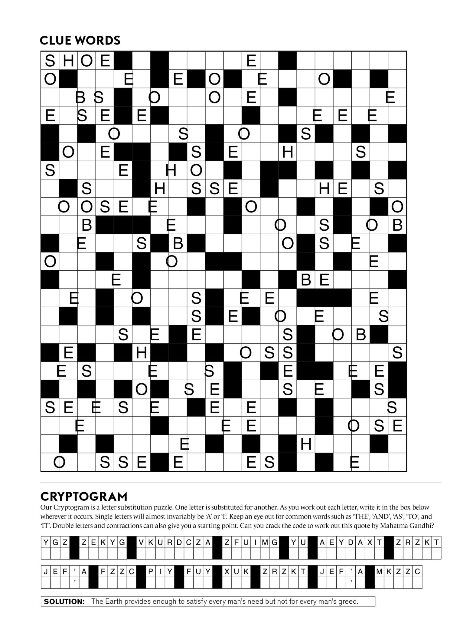 Puzzles | Mindfood - Free Printable Daily Crossword Puzzles October 2016