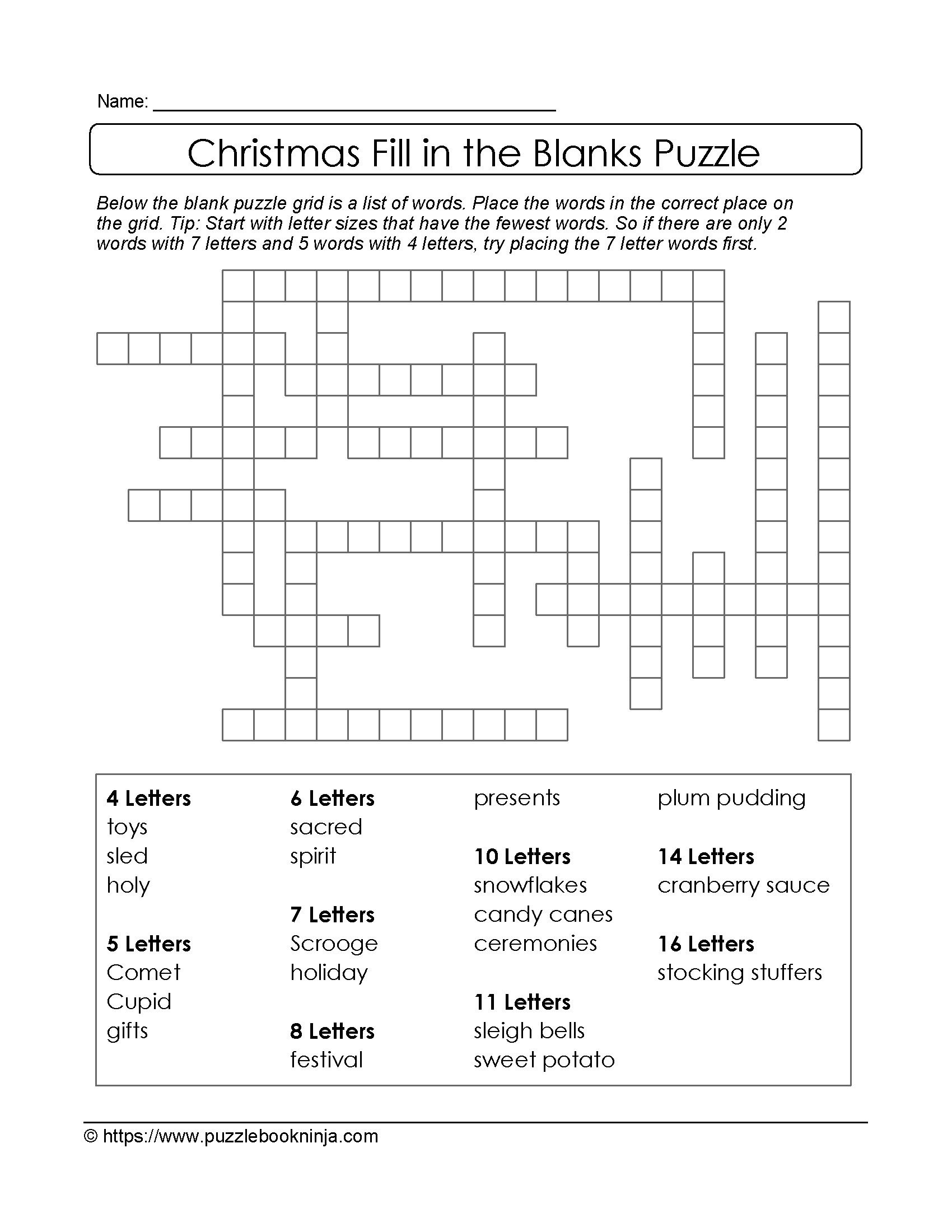 Puzzles To Print. Free Xmas Theme Fill In The Blanks Puzzle - Printable Blank Crossword