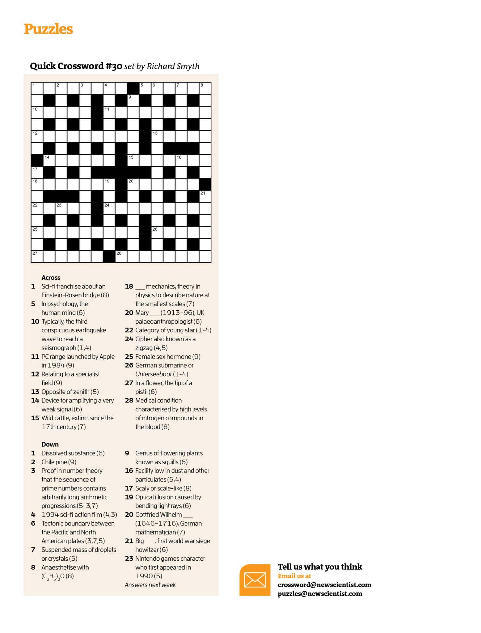 Quick Crossword #30 | New Scientist - Free Printable Quick Crossword Puzzles