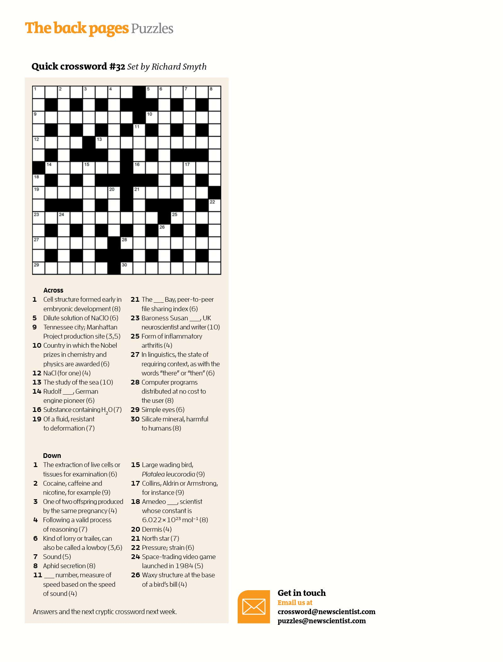 Quick Crossword #32 | New Scientist - Daily Quick Crossword Printable Version
